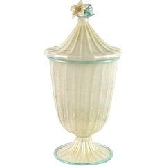 Barovier Toso Murano White Aqua Gold Flecks Italian Art Glass Jar Container