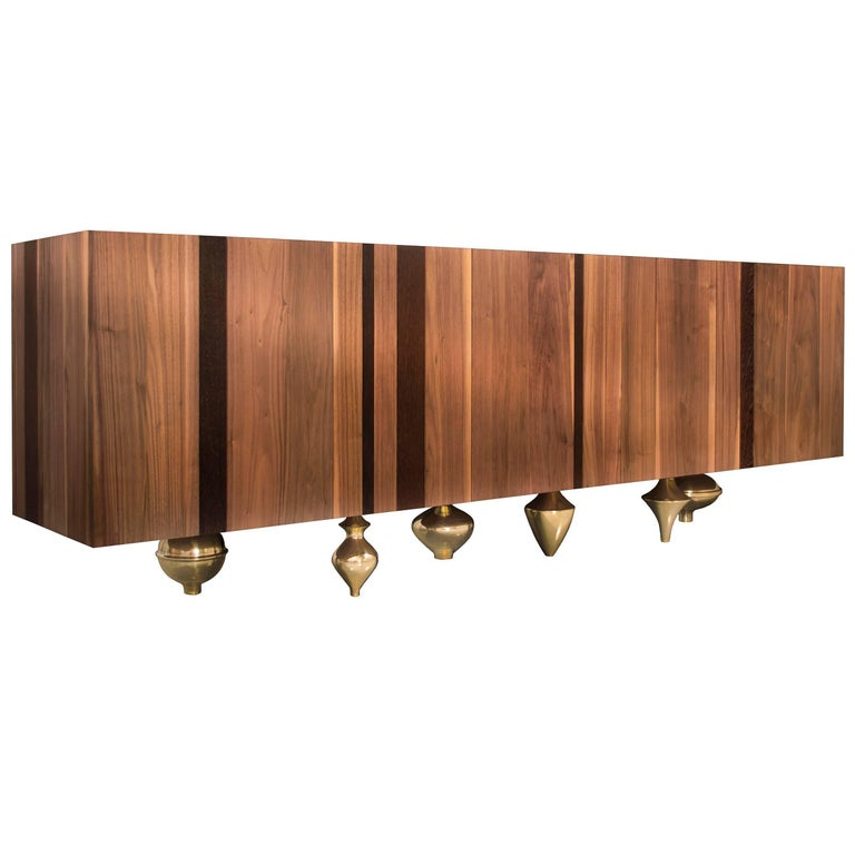 """Il Pezzo 1 Credenza"" modern buffet in solid walnut and wenge with marble top"