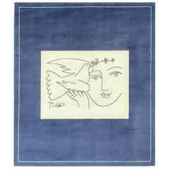 Blue Vintage After Picasso Rug Titled Peace and Joy. Size: 5 ft 8 in x 6 ft 7 in