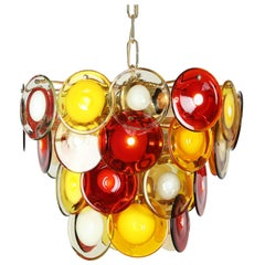 Vistosi Murano Glass Disk Chandelier, circa 1960s