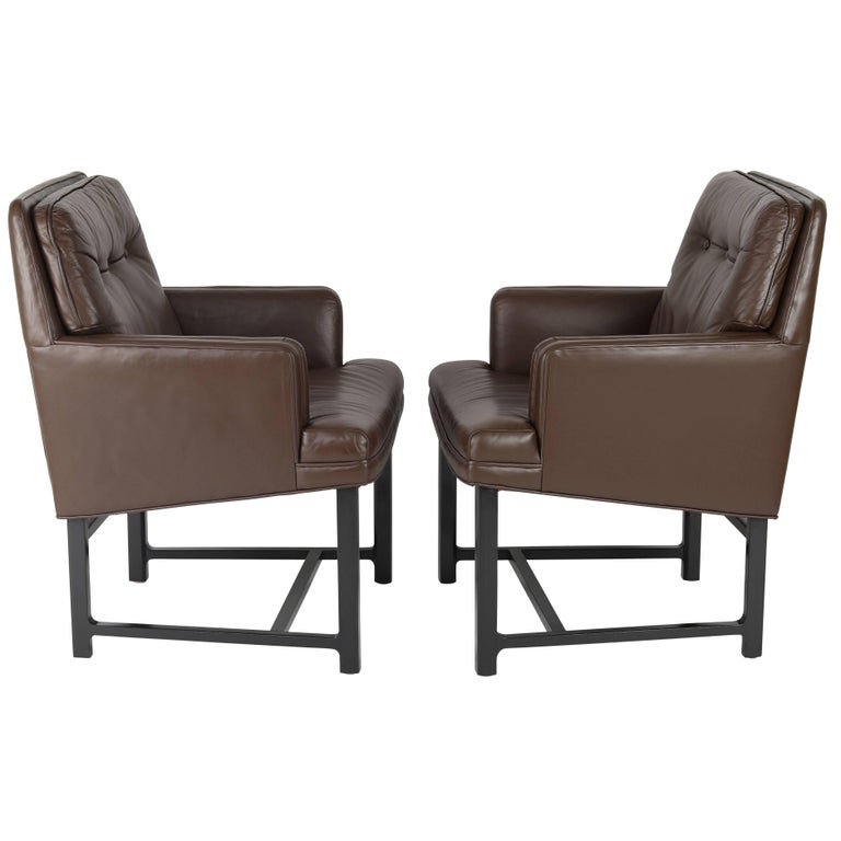 Pair of Edward Wormley for Dunbar Armchairs in Leather and Mahogany, circa 1960s