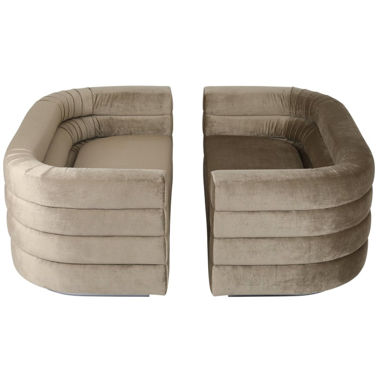 Pair of Interior Crafts Channeled Loveseats, circa 1970s