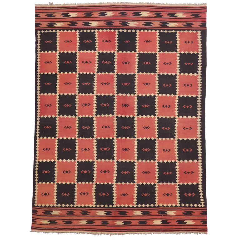 Vintage Afghani Kilim Rug with Red and Black Checkerboard Design