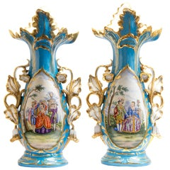 Large Pair of 20th Century Meissen Vases with Polychrome Decor, Germany