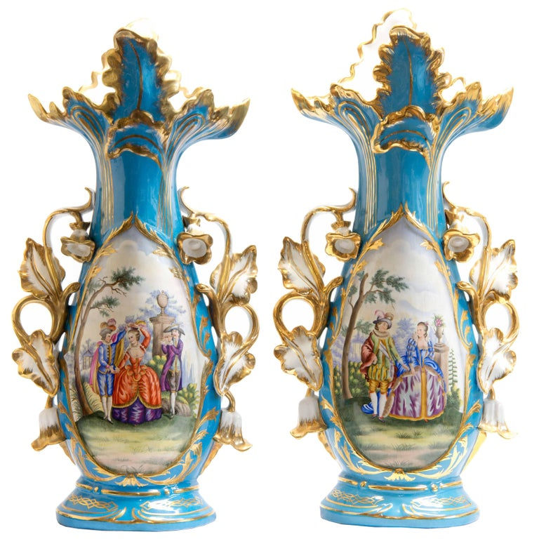 Large Pair Of 20th Century Meissen Vases With Polychrome Decor