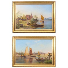 Antique Pair of Waterscape Oil Paintings by William Dommersen, circa 1880