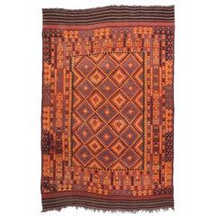 Vintage Afghan Kilim Rug with Modern Tribal Style