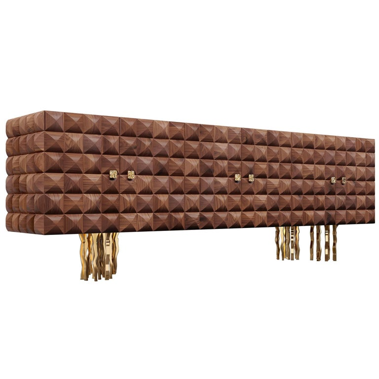 """""""Il Pezzo 10 Credenza"""" 21st Century sideboard made of embossed walnut"""