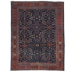 Antique Persian Mahal Rug with Modern Traditional Style, Navy Blue and Red Mahal