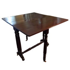 American Sheraton Drop Leaf Table with Reeded Legs, 19th Century