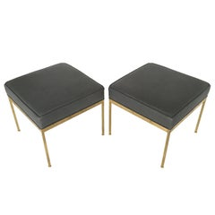 Pair of Square Brass and Leather Ottomans by Lawson-Fenning