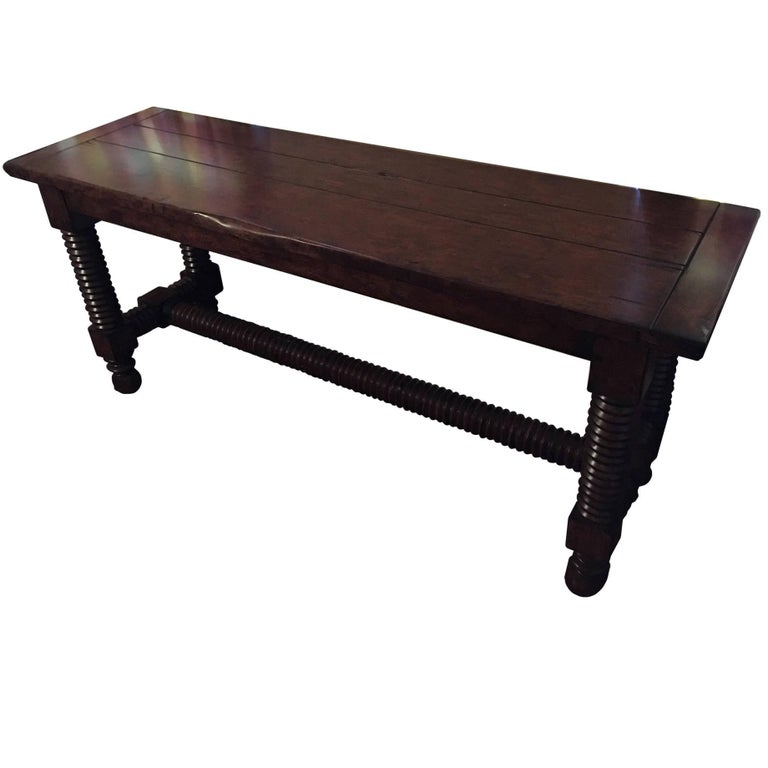 Console Table or Serving Table with Reeded Legs, Mid-20th Century