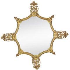 Shapely English Art Deco Gilt Bronze Octagonal Mirror