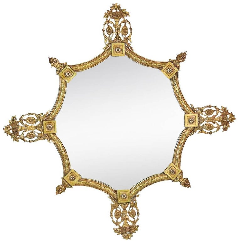 Shapely English Art Deco Gilt Bronze Octagonal Mirror