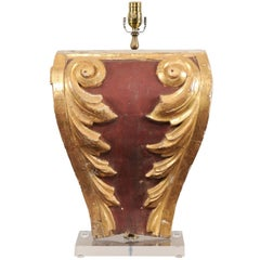 Italian 19th Century Deep Red and Giltwood Fragment Table Lamp with Shield Shape