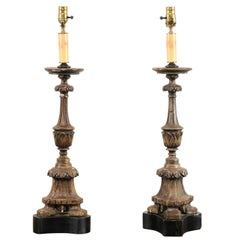Pair of 19th Century Italian Carved Wood Altar Sticks Made into Tall Table Lamps