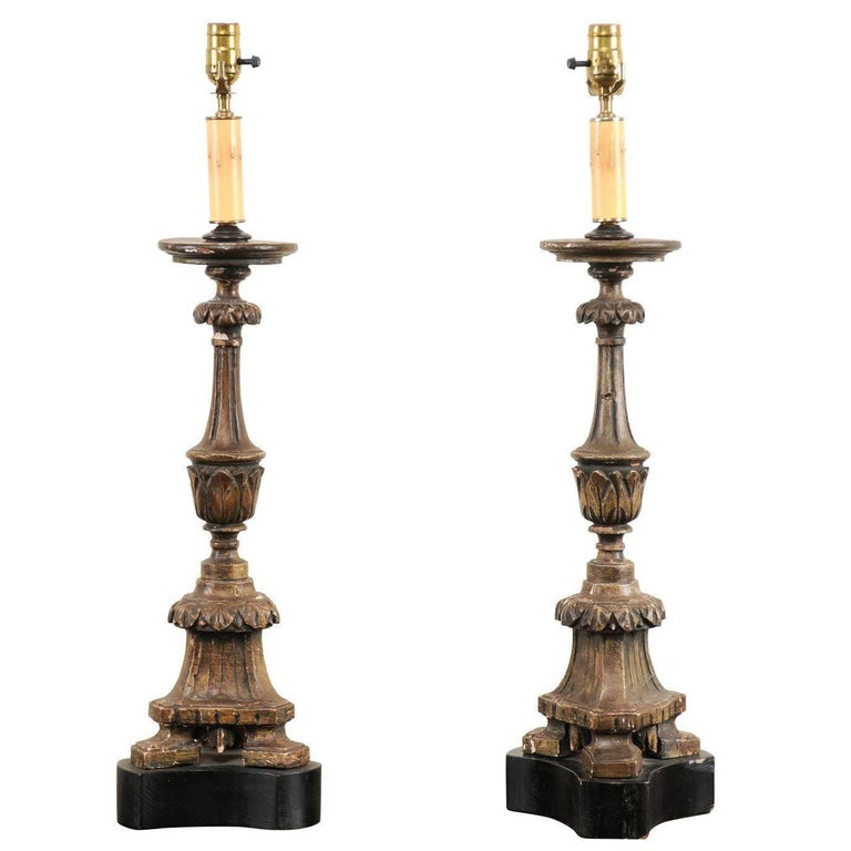 Pair of 19th Century Italian Carved Wood Altar Sticks Made into Tall Table Lamps For Sale