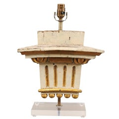 19th Century Italian Fragment Table Lamp in Painted Cream with Gilt Accents