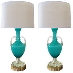 Good Pair of Italian Murano Teal Cased-Glass Double-Handled Urn-Form Lamps