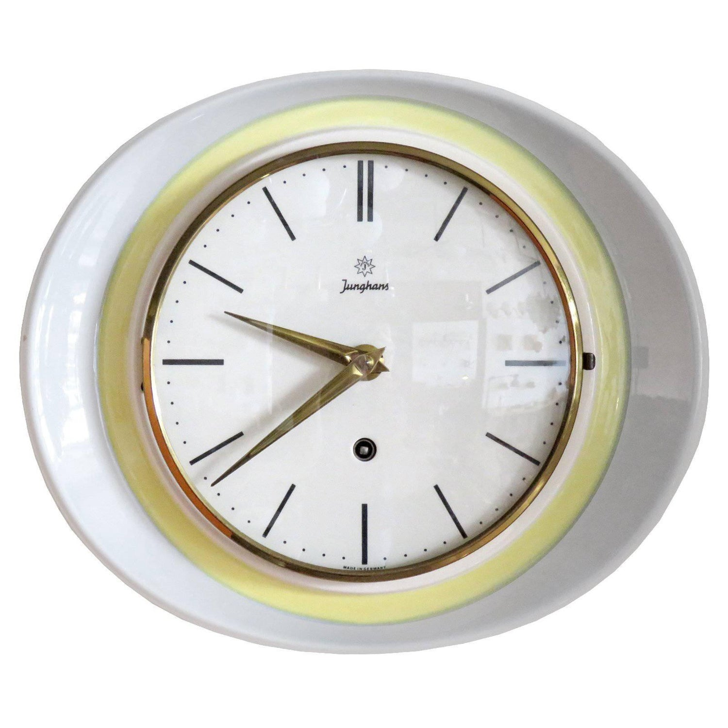 Wall clock by junghans germany gold crystal glass mirror 1970s junghans germany wall clock 1950 amipublicfo Choice Image