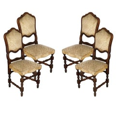 Set of Four 19th Century Italian Baroque Dining Chairs in walnut