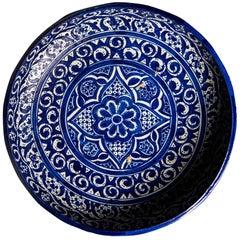 Cobalt Blue Geometric Design Earthenware Bowl, Fez Pottery, circa 1890