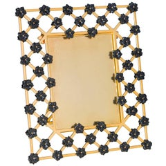 21st Century Gilt Bronze Picture Frame with Onyx Black Flowers, Gratitude Noir