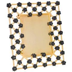 Golden Bronze Picture Frame with Onyx Black Flowers, Gratitude Noir