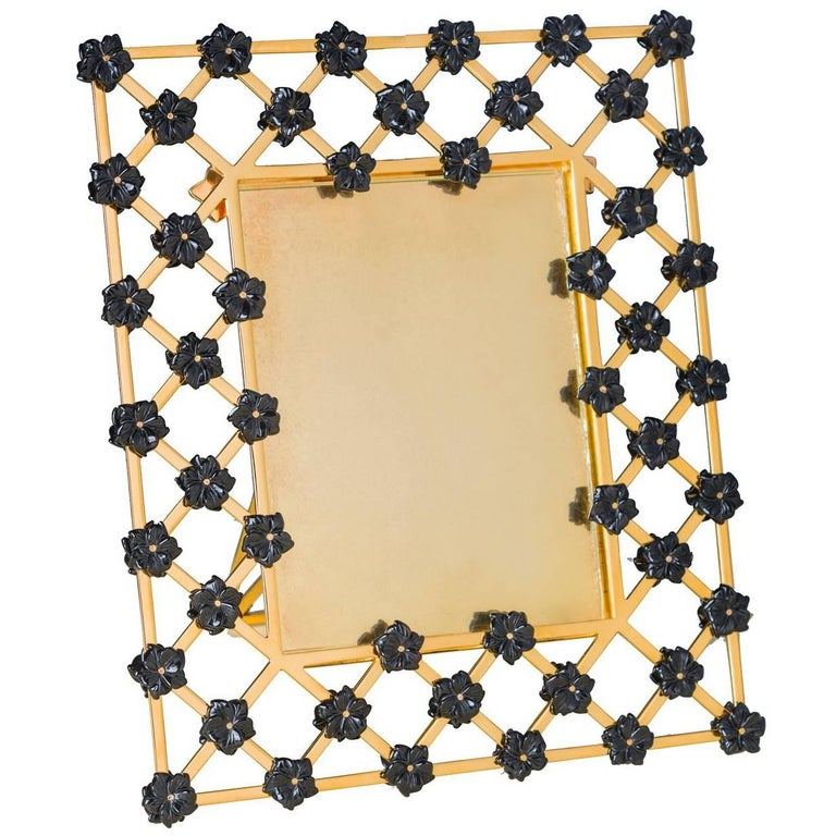 21st Century Gilt Bronze Picture Frame with Onyx Black Flowers, Gratitude Noir For Sale