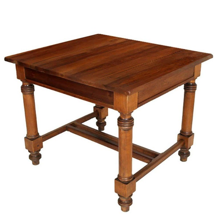 19th Century Neoclassic Austrian Square Table Solid Walnut Restored Wax Polished