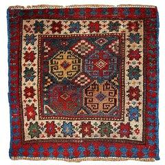 Handmade Antique Collectible Caucasian Kazak Bag Face, 1880s