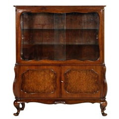 Early 20th Century Baroque Display Cabinet Sideboard in Carved Walnut and Burl