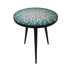 Blue Glass Mosaic Top Side Table in the Style of Edward Wormley Vladimir Kagan