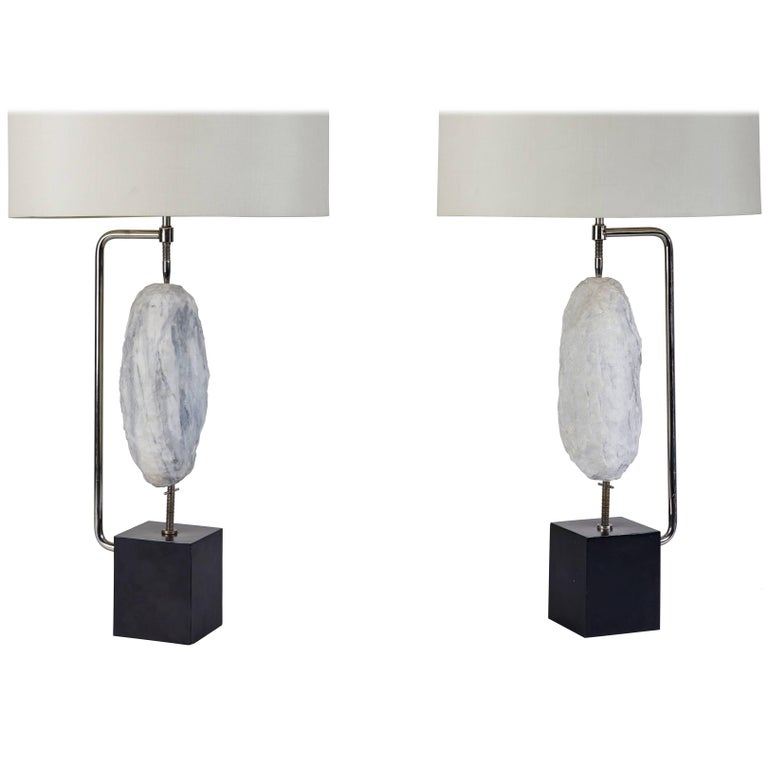 Pair of Quartz Specimen Table Lamps by Laurel For Sale