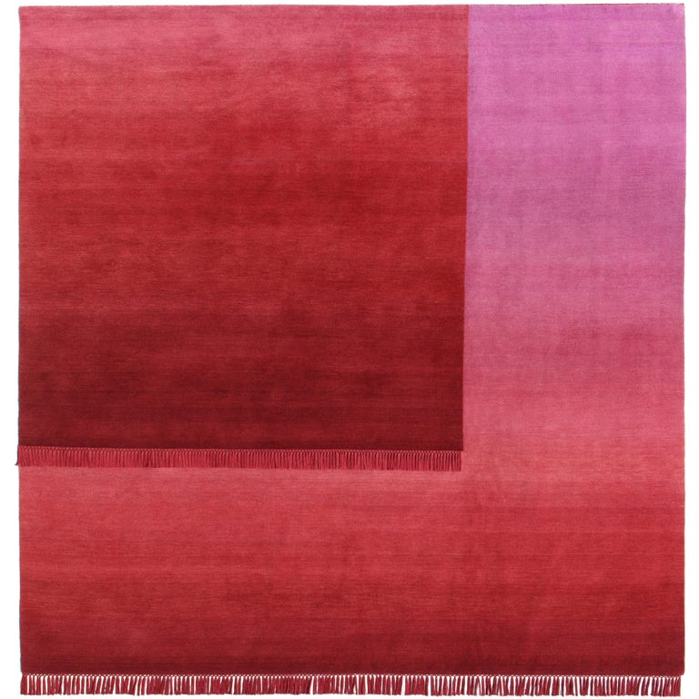 Eclipse Sedna, Rug and Wall Tapestry Nepal Highland Wool and Cotton Berry Red For Sale