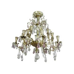 French 24-Arm Brass and Cut Crystal Chandelier by Baguès for Maison Jansen