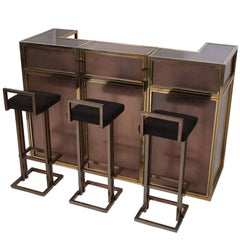 Maison Jansen Copper and Brass Bar Counter