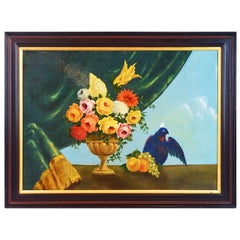 Italian Provincial 19th Century Oil with Flowers, Fruit and Blue Cockatoo