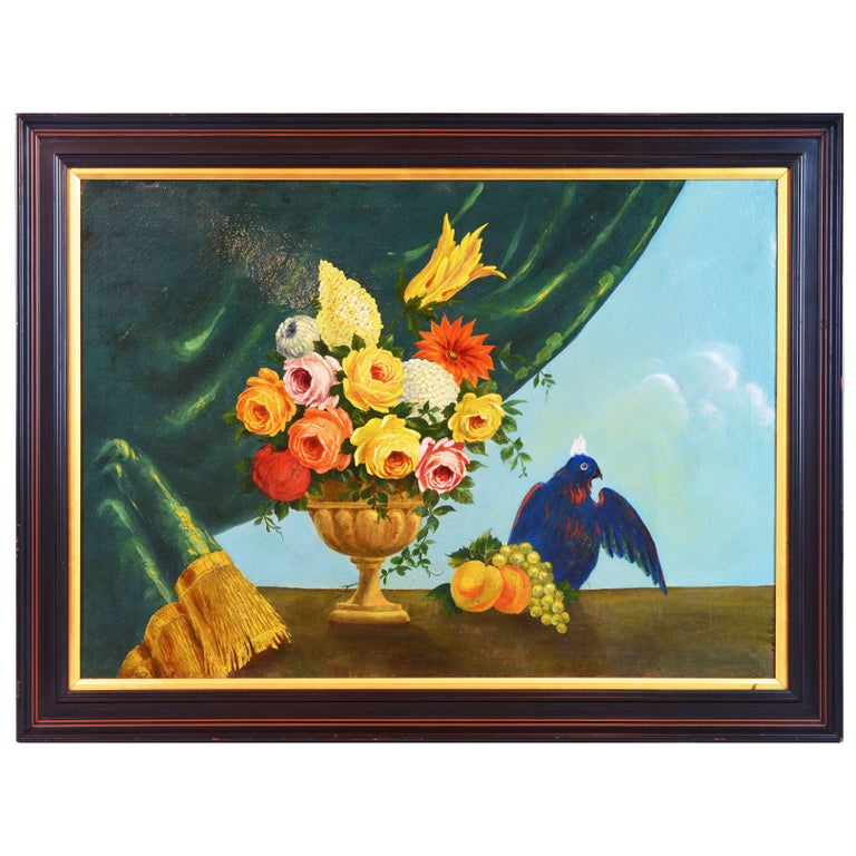 Italian Provincial 19th Century Oil with Flowers, Fruit and Blue Cockatoo For Sale