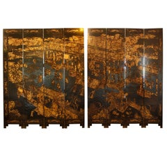 Carved, Gilt and Lacquered Eight-Panel Chinese Screen