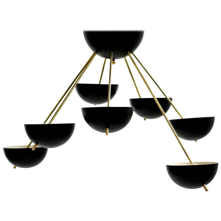 Italian Modern Flush Mount Starburst Brass Bowl Chandelier Stilnovo Style For Sale