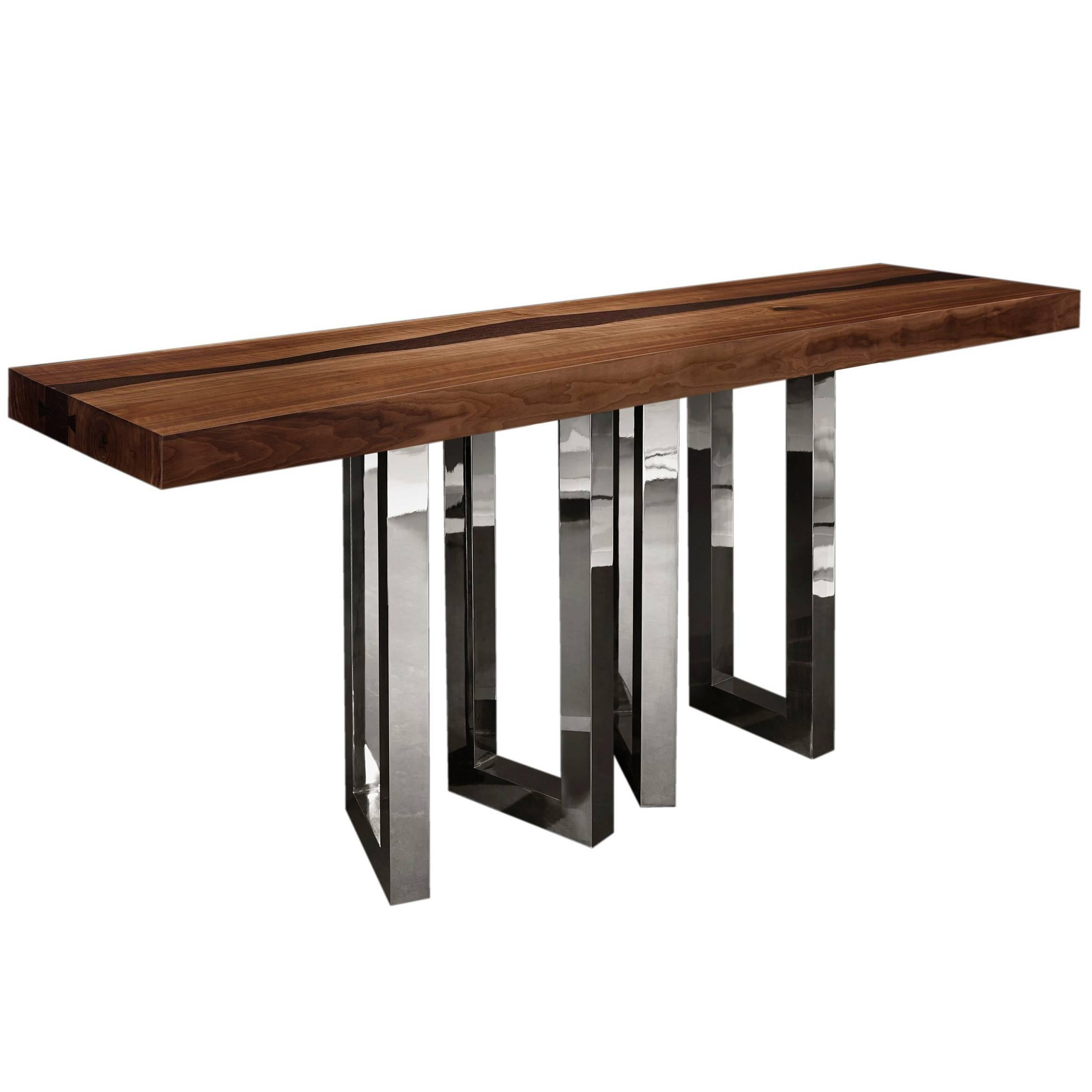 """""""Il Pezzo 6 Console"""" modern solid walnut and wenge console with nickel base"""