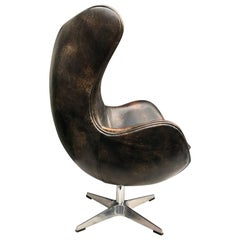 Vintage Arne Jacobsen Leather Egg Lounge Chair