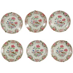 Group of Six Famille Rose Chinese Porcelain Plates China Yongzheng, 1700