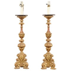 Pair of Italian Tall Giltwood Richly Carved Candlestick Table Lamps