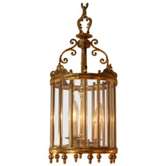 Italian Beveled Glass and Bronze Lantern
