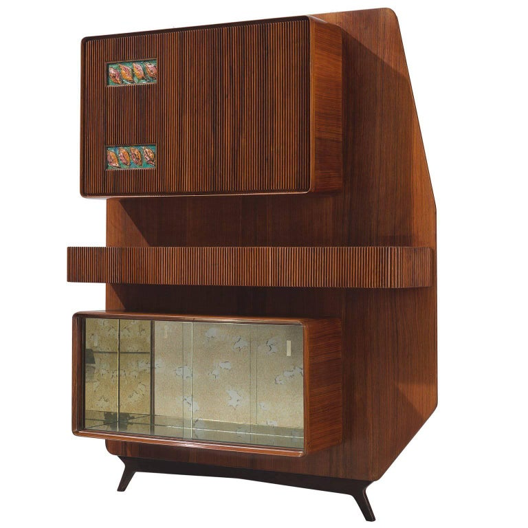 Italian Wall Unit with Rosewood and Ceramic