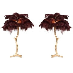 Golden Feathered Tree Lamp Aubergine