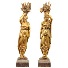 "Pair of Gilt Italian ""Allegories of Springs"" Wood Statues from Mid-20th Century"