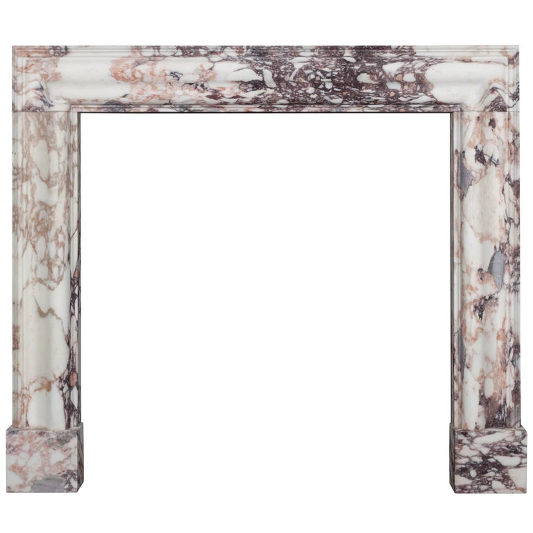 Breccia Medici Marble Bolection Fireplace For Sale